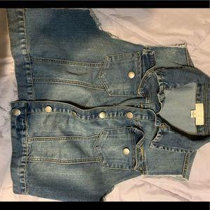 Forever 21+ crop Jean vest 1x